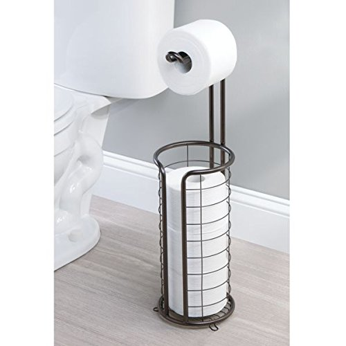 mDesign Modern Metal Free Standing Toilet Paper Roll Holder Stand and Dispenser with Storage for 3 Rolls of Reserve Toilet Tissue - for Bathroom Storage Organizing - Holds Mega Rolls, Bronze