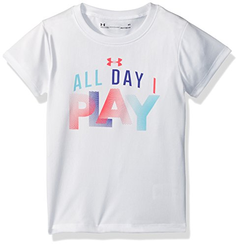 Under Armour Toddler Girls' All Day I Play Short Sleeve Tee Shirt, White, 4T (Girls Shirts Under Armour)