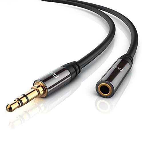 Primewire- 10m Cable Auxiliar de Audio Cable alargador 3.5mm Jack para entradas AUX - Conector metalico de precision - Conector 3,5 mm en Enchufe de 3,5 mm - Serie Premium HD