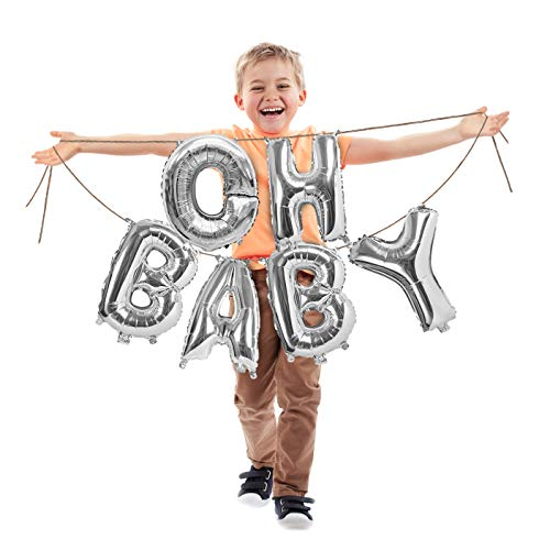 Treasures Gifted Oh Baby Silver Letter Balloons 16 Inch Foil Mylar Banner Baby Shower Backdrop Decorations Announcement for Little Girl or Boy at Gender Reveal Party Supplies -