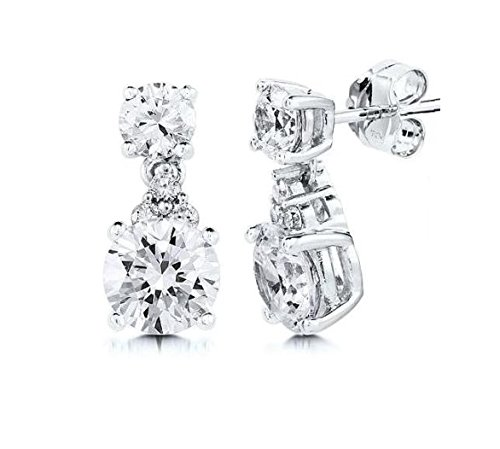 #134 Cubic Zirconia Earrings Tiny 1//2 Long Silver Girls Teens Adult Fashion Jewelry Boxed