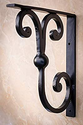 "2 PCS Black Scroll 13""x11"" Premium Heavy Duty Wrought Iron Countertop Brackets 