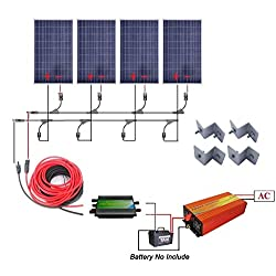 400 Watts Off Grid Solar Power System: 4pcs 100w Polycrystalline Solar Panel + 1000w Pure Sine Wave Inverter + 30A PWM Charge Controller + Solar Cable Adapter + Y Mc4 Connectors + Z Brackets