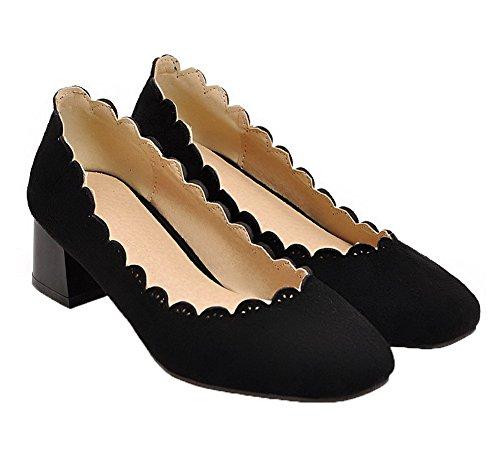 Amoonyfashion Femmes Dépolie Solide Pull-on-orteil Chaton-talons Pompes-chaussures Noir