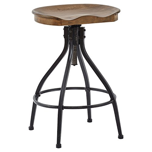 Stone & Beam Industrial Swivel Kitchen Dining Room Counter/Bar Stool, Adjustable 26 Inch-30 Inch Height, Brown Wood