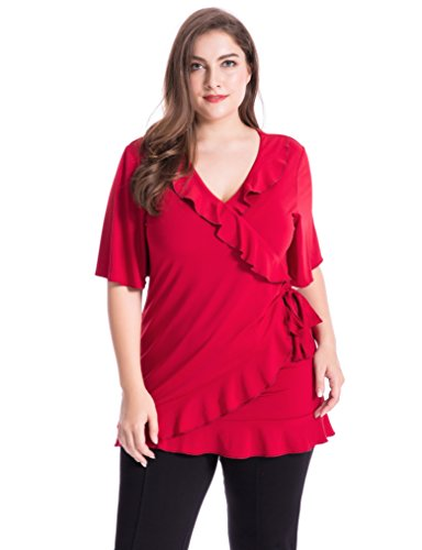 Feminine Knit Top (Chicwe Women's Feminine Cascading Flounces Stretch Knit Wrap Plus Size Top Rose Red 1X)