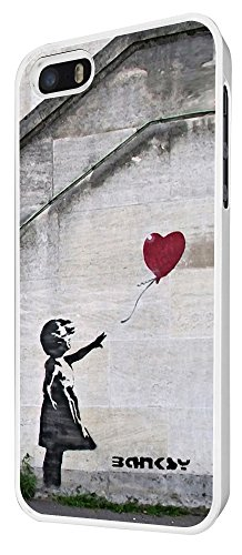 545 - Banksy Grafitti Art Balloon Girl Funky Design iphone 5 5S Coque Fashion Trend Case Coque Protection Cover plastique et métal - Blanc
