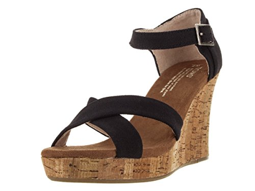 Toms Women's Strappy Wedges Black Casual Shoe 7.5 Women US - Toms Canvas Wedge Shoes