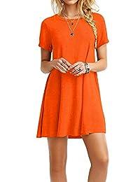 Amstt Women's Short Sleeves Casual T-Shirt Dress Flowy Swing Loose Mini Dress