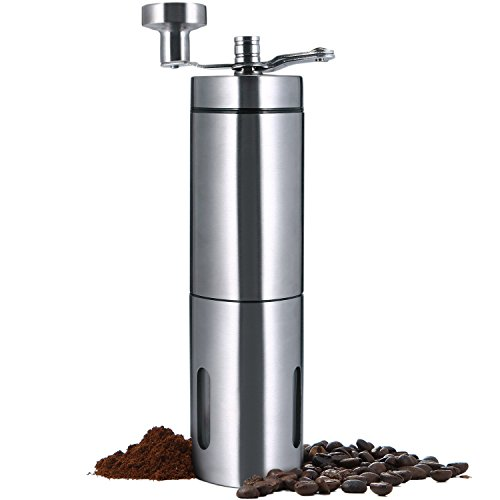 Manual Coffee Grinder, SURPEER Stainless Steel Portable Coffee Mill – Adjustable Ceramic Conical Burr Grinders for Home, Traveling, Camping – Consistent Grind French Press / Aeropress / Espresso