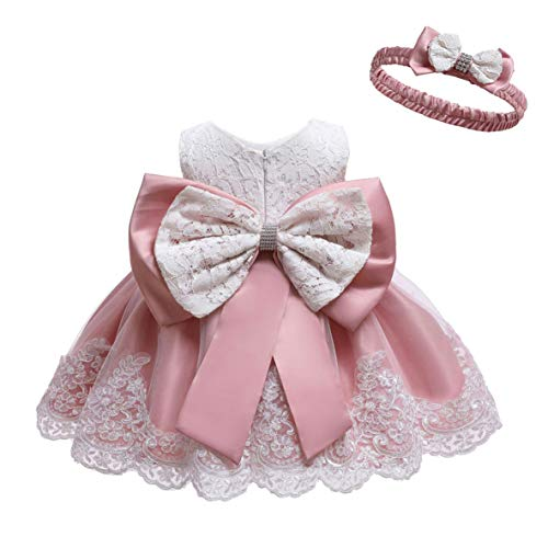 LZH Baby Girls Formal Dress Bowknot Baptism Embroidery Tutu Dress with Headwear(8348-Bean Powder,3M/0-3 Months)