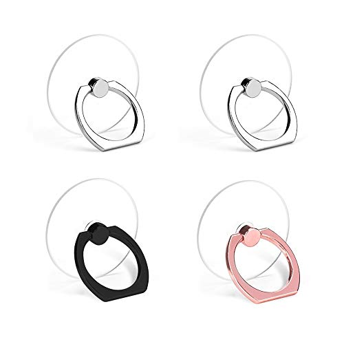 Cell Phone Ring Holder, Transparent Phone Ring Holder 360°Rotation Finger Ring Stand Phone Ring Grip Compatible with Almost All Phones/Phone Cases (Round)