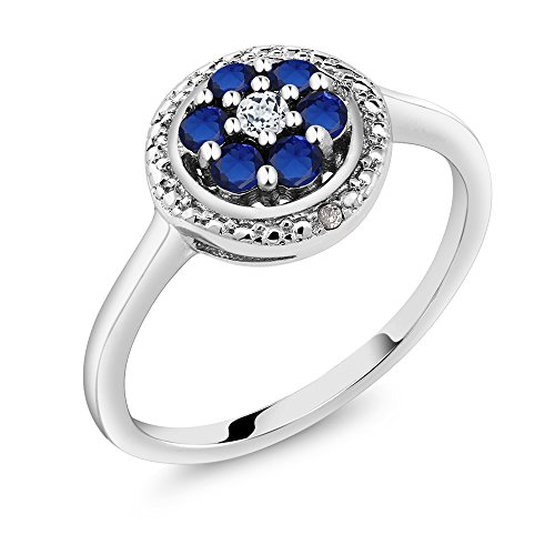 Gem Stone King 925 Sterling Silver Simulated Sapphire White Topaz and Diamond Accent Women's Ring 0.44 cttw (Size 7) ()