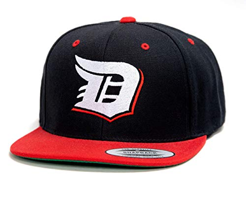 Detroit D Baseball Hat Flexfit Classic Snapback 2-Tone Adjustable Hat (Red Wings Colors: Black/Red/White) (Detroit Shirt Red Classic Wings)