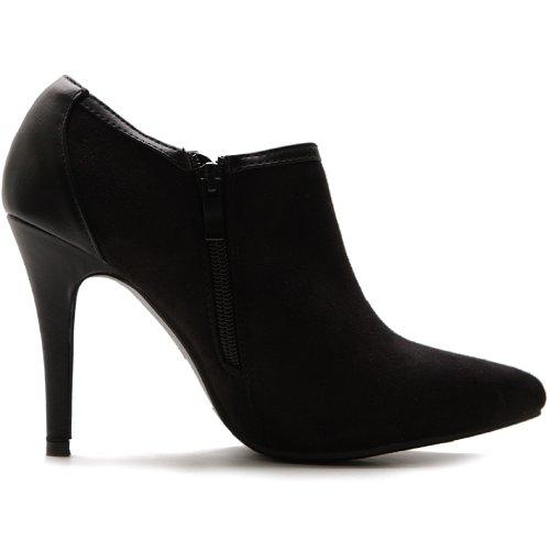 Ollio Women's High Heel Ankle Shoe Zip Faux Suede Multi Color Boot(6.5 B(M) US,Black)
