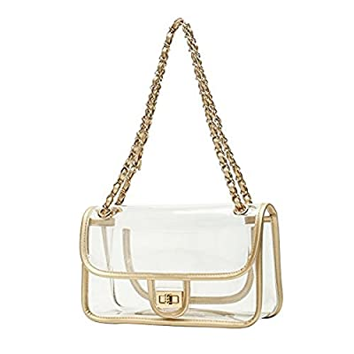 Asien Womens Transparent Clutch Clear Acrylic Purse Chain Shoulder Bags NFL Stadium Approved Bags