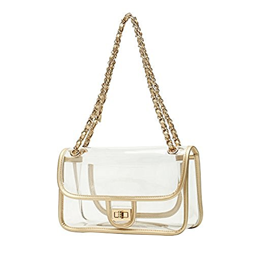 Transparent Stadium NFL Shoulder Chain Clear Gold Bags Acrylic Purse Asien Approved Bags Womens Clutch qvzq45