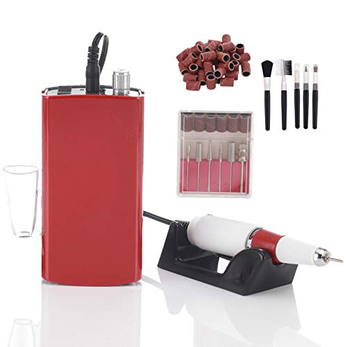 Miss Sweet Portable Nail Drill Machine Rechargeable Electric Nail File for Acrylic Nail RPM30000 (Y3 Red)
