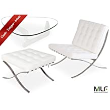 MLF Barcelona Chair & Ottoman + Isamu Noguchi Table (Chair: White Italian Leather, Table: White Birch Wood)(30 Combinations)