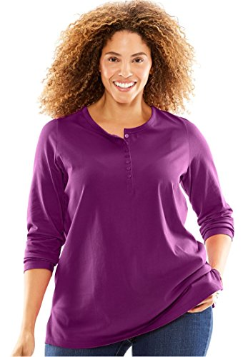 Womens Plus Size T Shirt  Perfect  With Long Sleeves  Henley Neck