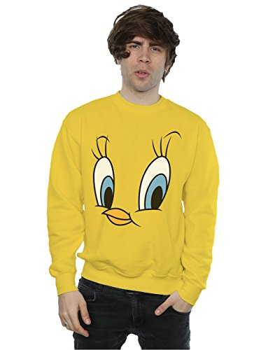 Face Tweety (Looney Tunes Men's Tweety Pie Face Sweatshirt Medium Sunflower)