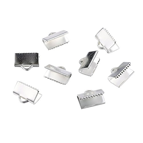 NBEADS 500pcs Brass Ribbon Ends, Silver, Lead Free and Cadmium Free, about 10mm long, 7mm wide, hole: 1x3mm