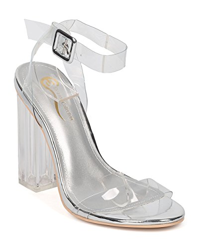 Alrisco Women Lucite Square Heel Sandal - Wedding, Dressy, Formal - Ankle Strap Sandal - GE41 Silver (Size: 8.5) (Square Heel Sandal)