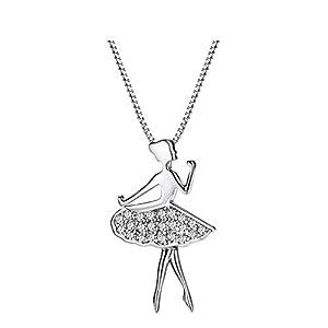 NEOGLORY Imitation Platinum Dancing Girl Sweater Chain Necklace Women Jewelry Gift