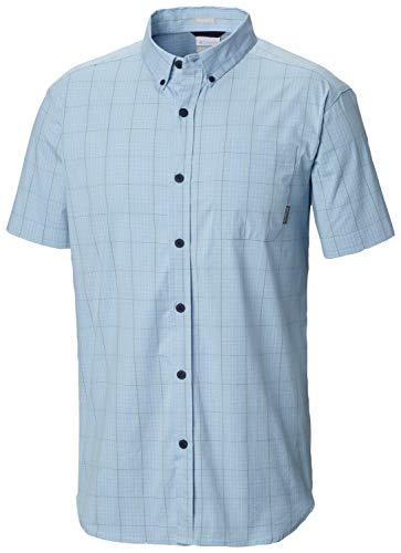 Columbia Men's Rapid Rivers II Short Sleeve Shirt, Blue Sky Mini Grid Plaid, XL