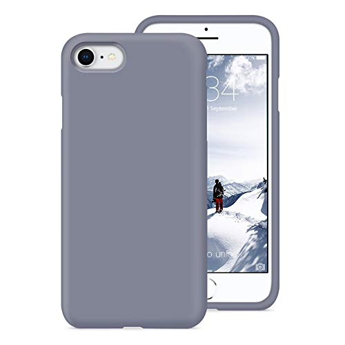 (PCGAGA Silicone iPhone 8 case Silicone iPhone 7 case, Liquid Silicone Gel Rubber Shockproof Case for Apple iPhone 8 (2017) / iPhone 7 (2016) 4.7 inches, Lavender)