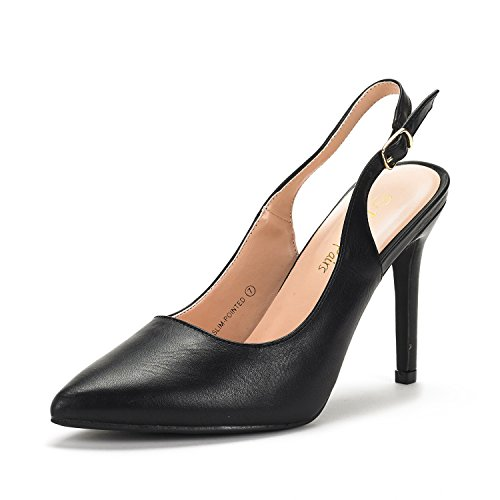 DREAM PAIRS Women's Slim-Pointed Black Pu High Heel Pump Shoes - 9 M US