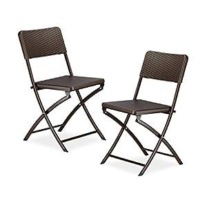 Relaxdays Chaise de jardin pliable pliante Lot de 2 Chaise de camping BASTIAN en aspect rotin H x l x P: 82 x 44 x 50 cm, marron