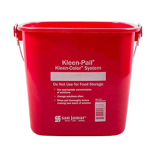 - San Jamar KP196KCRD Kleen-Pail 6 Quart Red Sanitizer Pail