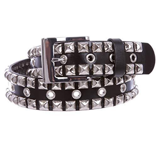Snap On Punk Rock Silver Star Studded Grommets Leather Jean Belt, Black | xxl ()