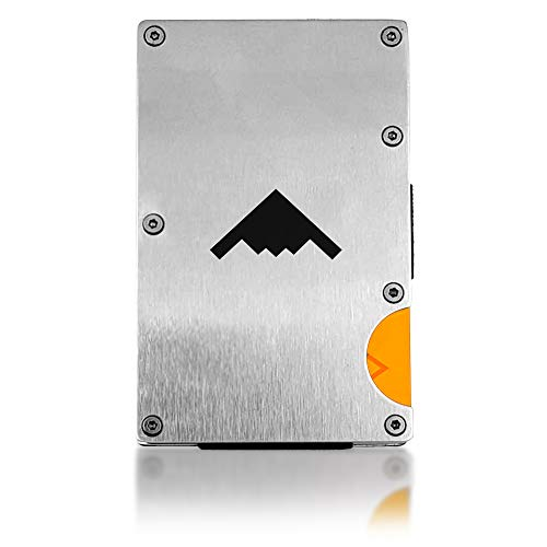 Men's Tactical Slim RFID Credit Card Metal Wallet Minimalist Aluminum Money Clip (Card Feat)
