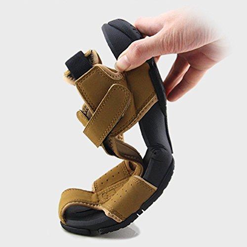 Hombres Playa Cuero Sandalias Toe Caqui Hombres Verano Cerrado Zapatos 1n7qnag