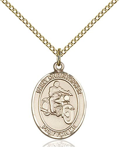 Gold Motorcycle 14k (14K Gold Filled Saint Christopher Motorcycle Riding Medal Pendant, 3/4 Inch)