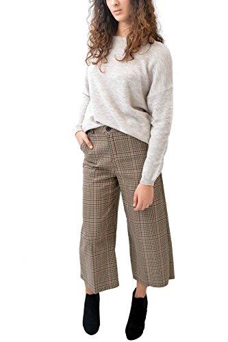 VILLAGGIOWEAR MADE IN ITALY Pantaloni Taupe Ampi Scozzesi Caviglia Quadretti Abbigliamento Moda Donna