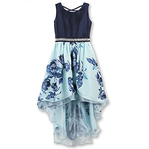 Speechless Girls' Big 7-16 Party Dress with High-Low Skirt and Sparkle Waist, Navy/Mint, 16 -