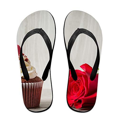 Couple Slipper Rose Cake Love Print Flip Flops Unisex Chic Sandals Rubber Non-Slip House Thong Slippers by Lojaon