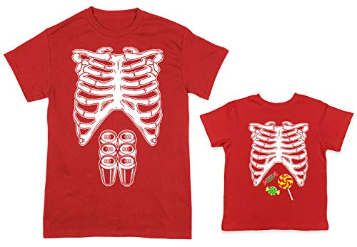 HAASE UNLIMITED Skeleton Costume 6-Pack/Candy 2-Pack Toddler & Men's T-Shirt (Red/Red, XX-Large/5T)