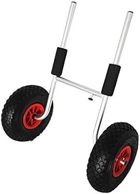 MagiDeal 1x Kayak Carretilla Tranvía Carrito Carreta para Transporte Accesorios Deportivos Aluminio Plata Neumáticos Poliuretano Robusto Duradero
