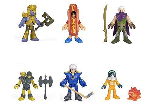 Imaginext Series 10 Blind Bag Complete Set of 6 - Diver, Dragon Warrior, Hockey Player, Elf Warrior, Two Headed Monster and Hot Dog Man