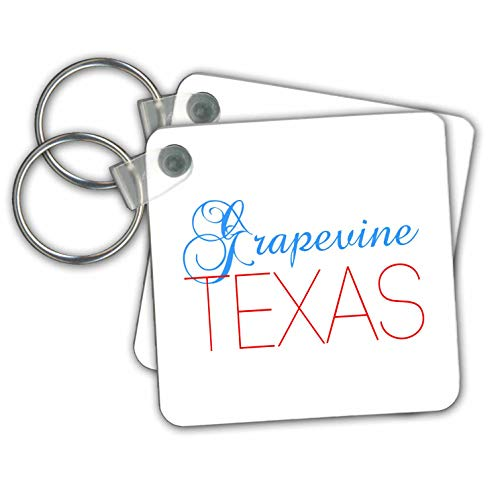 Alexis Design - American Cities Texas - Grapevine, Texas, red, blue text. Patriotic home town design - Key Chains - set of 2 Key Chains ()