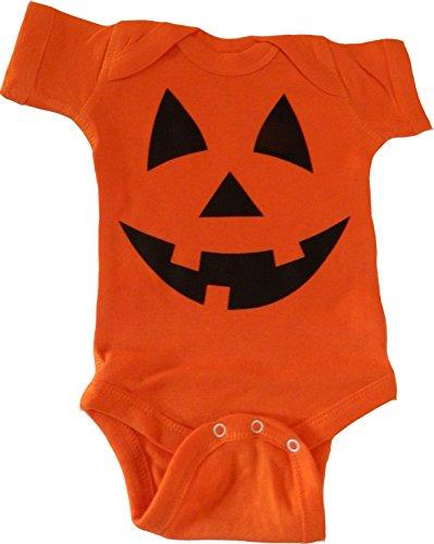 Custom Kingdom Baby Boys/Girls Pumpkin Face Halloween One-Piece Bodysuit Romper (3-6 Months, Orange)