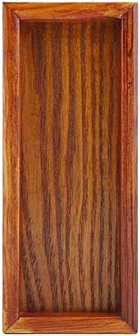 サービングトレイ、ティートレイウッドフードトレイコーヒーテーブルトレイティートレイサービング朝食トレイ長方形木製ティートレイサービングテーブルプレートスナックフードストレージディッシュ(20 * 8cm)
