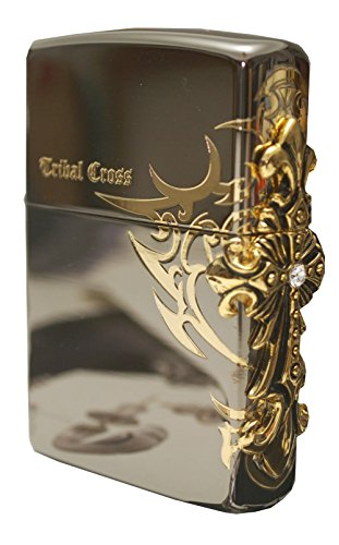 Zippo Lighter Genuine Design Side Tribar Cross Emblem Black Ice