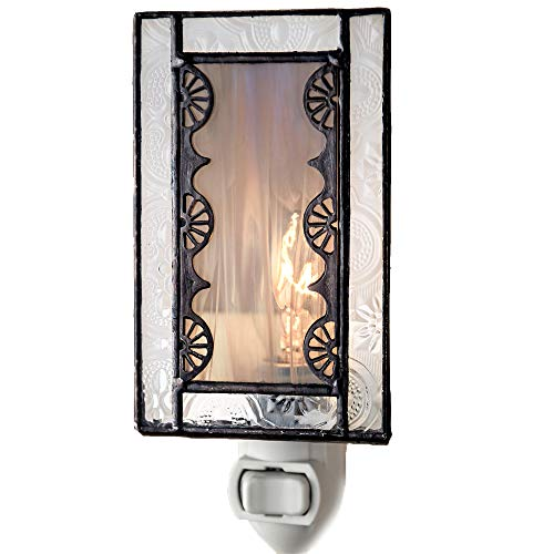 J Devlin NTL 144 Gray Stained Glass Night Light Decorative Vintage Accent Lite (Art Glass Night Light)