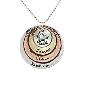 My Four Treasures Personalized Necklace with 4 Customizable Discs and 1 Sterling Silver Heart Charm on a choice of Sterling Silver Chain. Gifts for Her, Wife, Girlfriend, Mother or Grandmother
