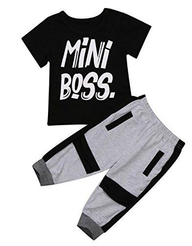 2Pcs Toddler Kids Boys Outfits Mini Boss Letters Printed T-Shirt+Harem Pants Casual Set Clothes Size 4-5Years/Tag120 (Black) by BANGELY
